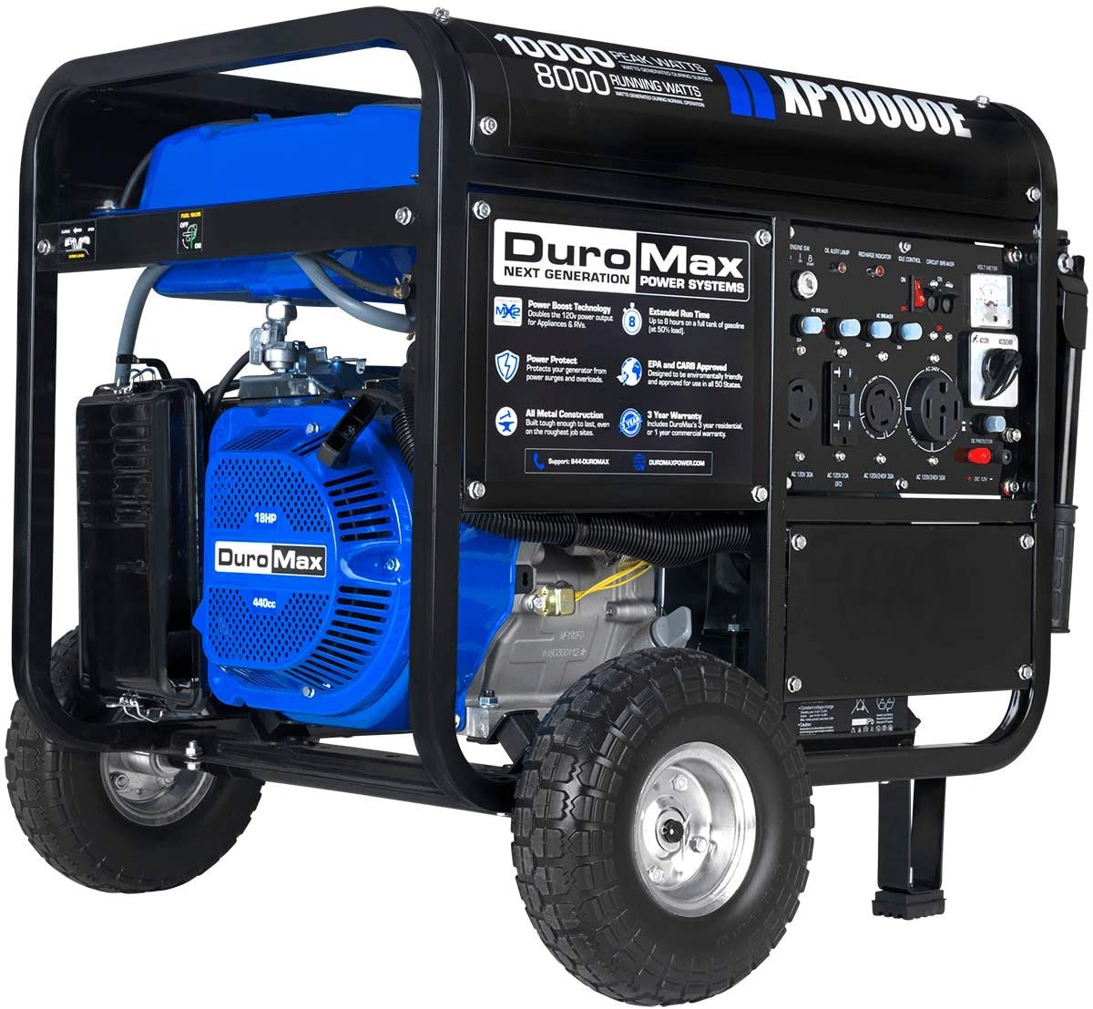 DuroMax XP10000E Gas Powered Portable Generator-10000 Watt Electric Start-Home Back Up & RV Ready, 50 State Approved