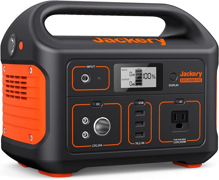 Jackery Portable Power Station Explorer 500, 518Wh Outdoor Solar Generator Mobile Lithium Battery Pack with 110V/500W AC Outlet
